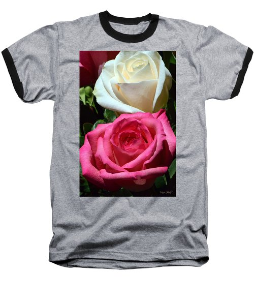 Sunlit Roses Baseball T-Shirt by Marie Hicks