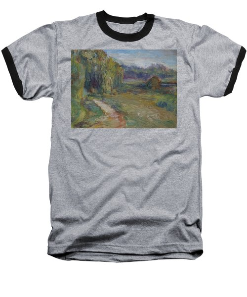 Sunny Morning In The Park -wetlands - Original - Textural Palette Knife Painting Baseball T-Shirt