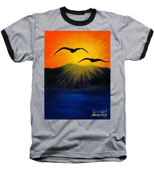 Sunrise And Two Seagulls Baseball T-Shirt by Oksana Semenchenko