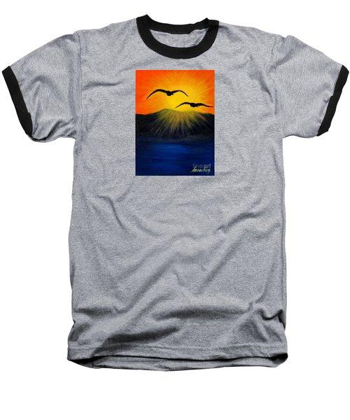 Sunrise And Two Seagulls Baseball T-Shirt