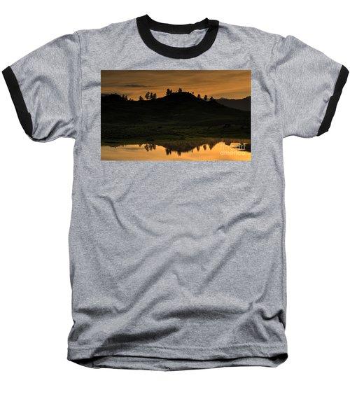 Sunrise Behind A Yellowstone Ridge Baseball T-Shirt