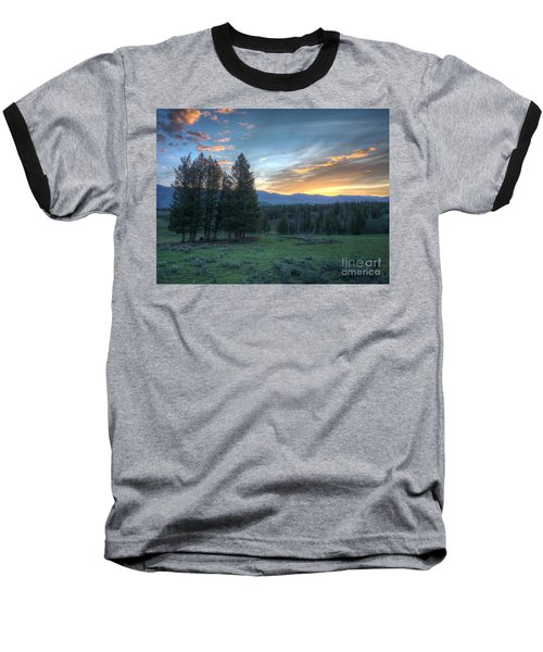 Sunrise Behind Pine Trees In Yellowstone Baseball T-Shirt