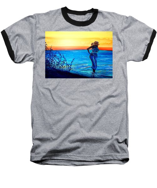 Baseball T-Shirt featuring the painting Sunrise Blues by Ecinja Art Works