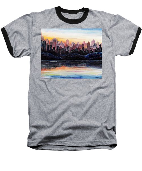 Baseball T-Shirt featuring the painting Sunrise City by Shana Rowe Jackson