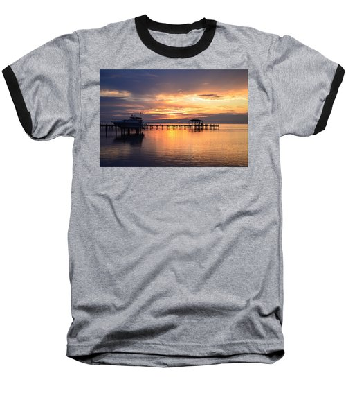 Sunrise Colors On The Sound Baseball T-Shirt by Jeff at JSJ Photography