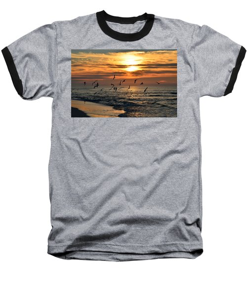 Sunrise Colors Over Navarre Beach With Flock Of Seagulls Baseball T-Shirt by Jeff at JSJ Photography