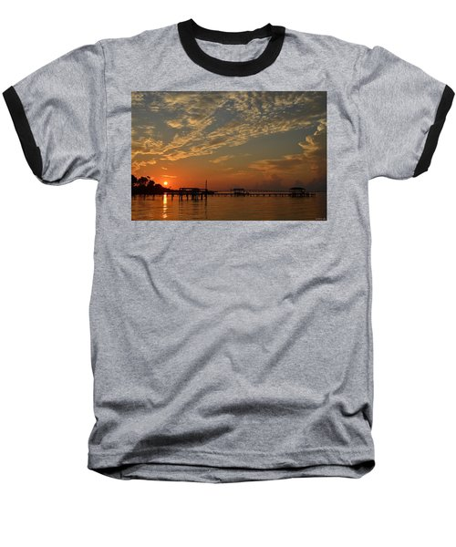 Sunrise Colors With Storms Building On Sound Baseball T-Shirt