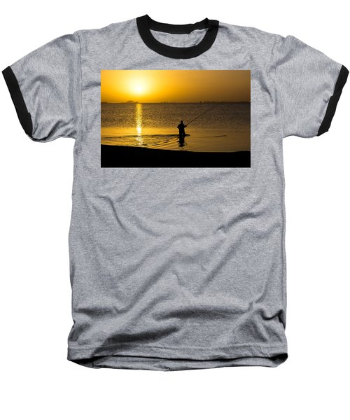 Sunrise Fishing Baseball T-Shirt by Scott Carruthers