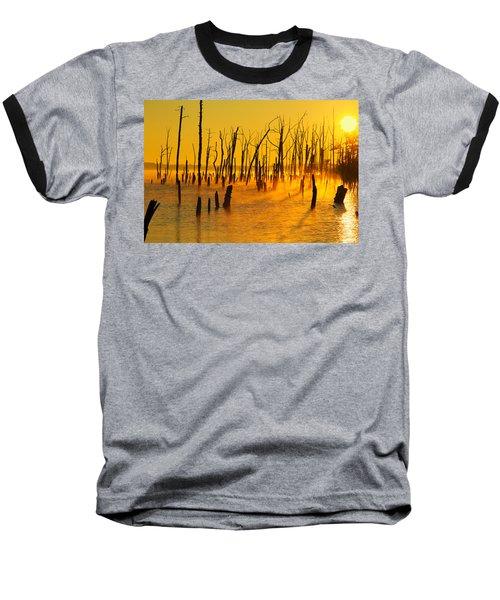 Sunrise Fog Shadows Baseball T-Shirt