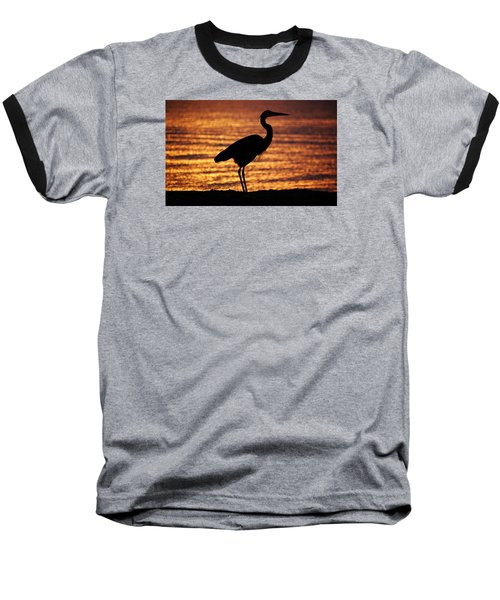 Baseball T-Shirt featuring the photograph Sunrise Heron by Leticia Latocki