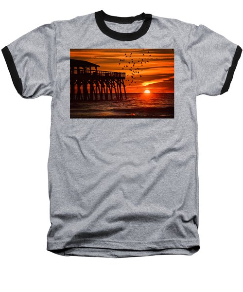 Sunrise In Myrtle Beach With Birds Flying Around The Pier Baseball T-Shirt