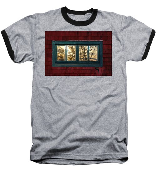 Baseball T-Shirt featuring the photograph Sunrise In Old Barn Window by Susan Capuano