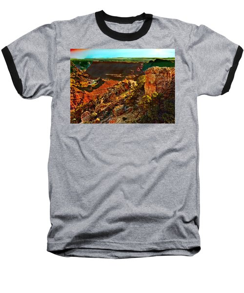 Sunrise Lipan Point Grand Canyon Baseball T-Shirt by Bob and Nadine Johnston