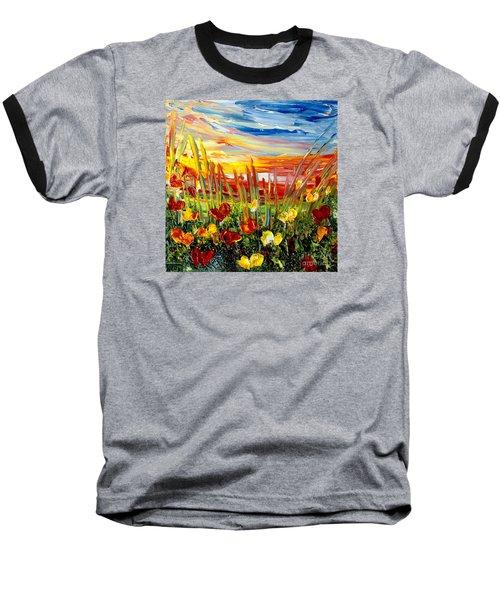 Sunrise Meadow   Baseball T-Shirt by Teresa Wegrzyn