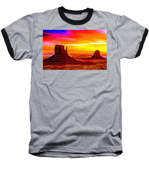 Sunrise Monument Valley Mittens Baseball T-Shirt