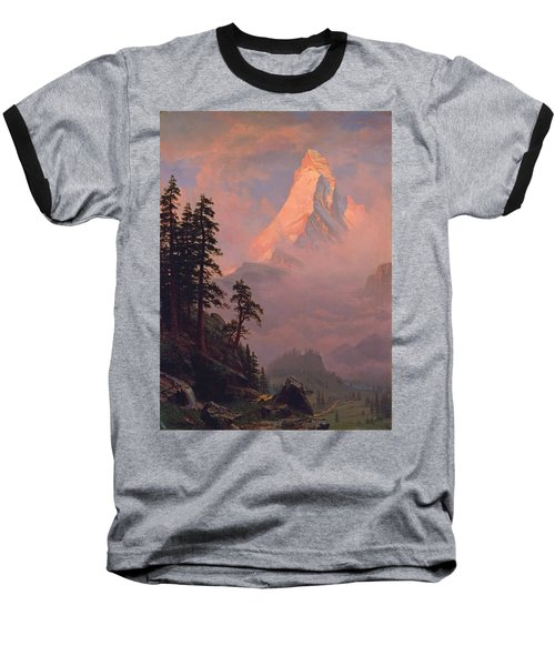 Sunrise On The Matterhorn Baseball T-Shirt by Albert Bierstadt