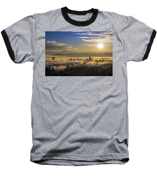 Sunrise Over Foggy Portland Baseball T-Shirt