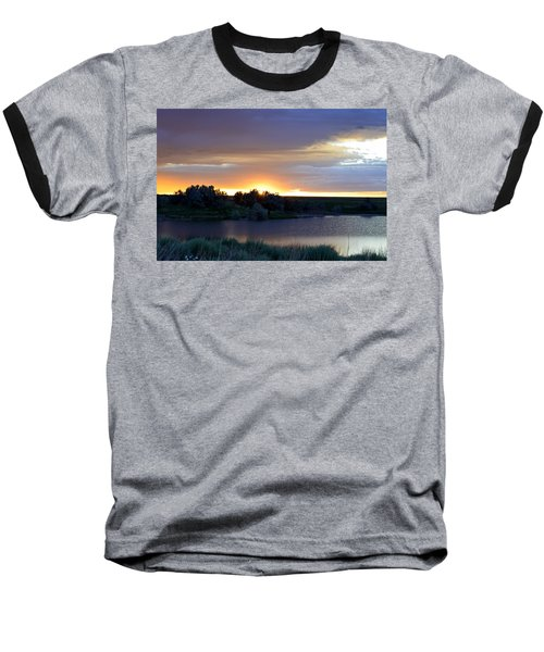 Sunrise Over Kinney Lake Baseball T-Shirt by Clarice  Lakota