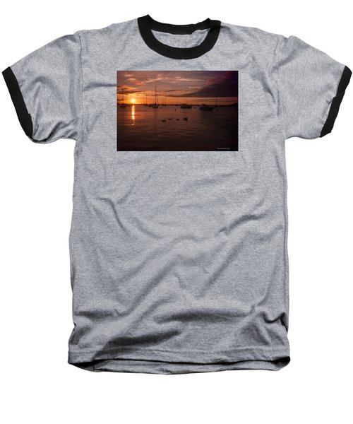 Sunrise Over Lake Michigan Baseball T-Shirt by Miguel Winterpacht