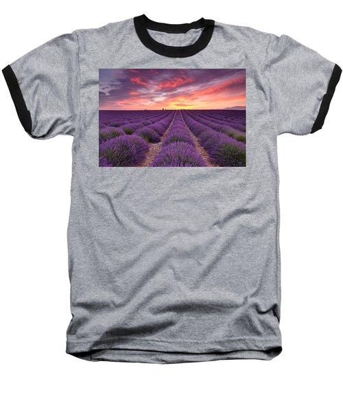 Sunrise Over Lavender Baseball T-Shirt