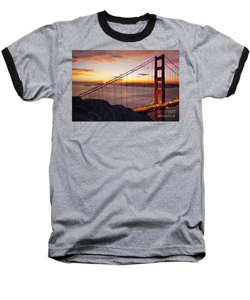 Sunrise Over The Golden Gate Bridge Baseball T-Shirt