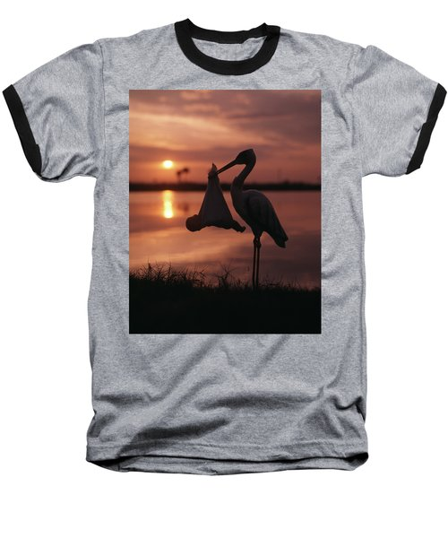 Sunrise Silhouette Of Stork Carrying Baseball T-Shirt