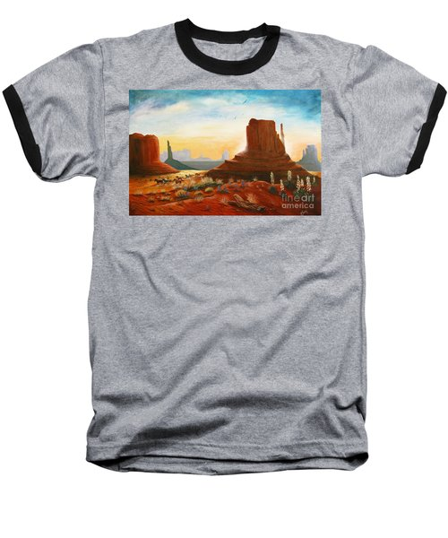 Sunrise Stampede Baseball T-Shirt by Marilyn Smith