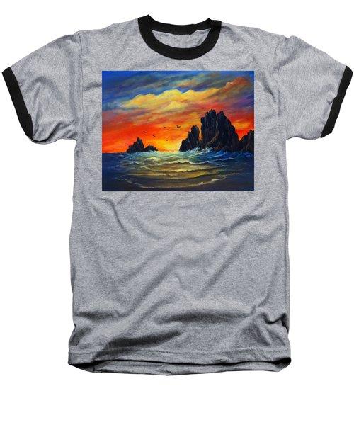 Baseball T-Shirt featuring the painting Sunset 2 by Bozena Zajaczkowska