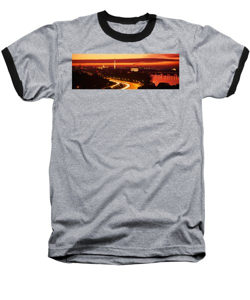 Sunset, Aerial, Washington Dc, District Baseball T-Shirt