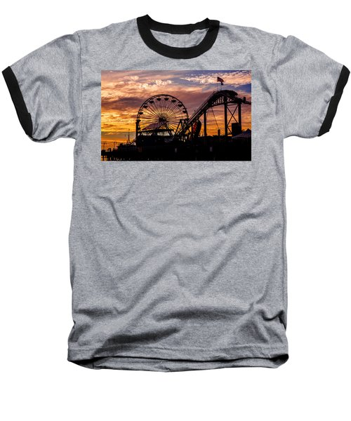 Sunset Amusement Park Farris Wheel On The Pier Fine Art Photography Print Baseball T-Shirt