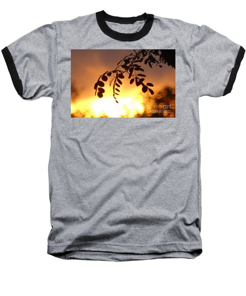 Sunset And Leaves Baseball T-Shirt by Justin Moore