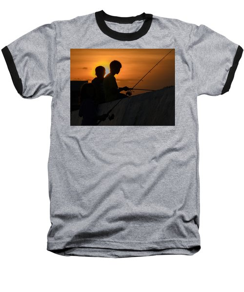 Sunset Anglers Baseball T-Shirt by Keith Armstrong