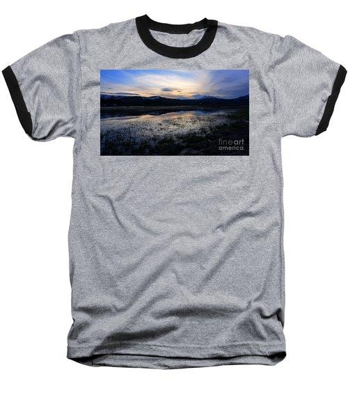 Sunset At A Lake Near Mammoth In Yellowstone Baseball T-Shirt