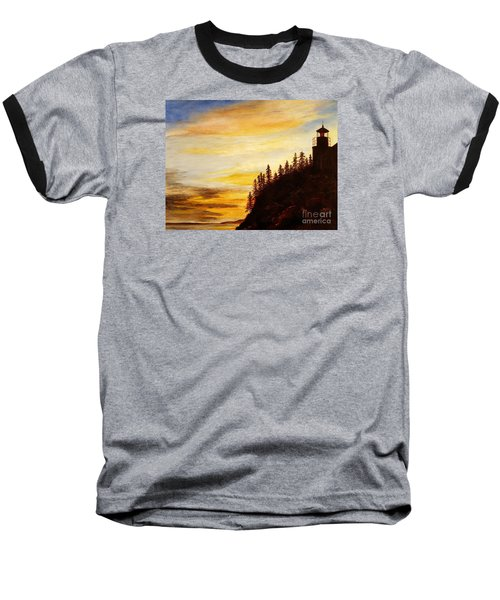 Baseball T-Shirt featuring the painting Sunset At Bass Harbor by Lee Piper
