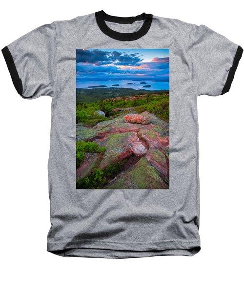 Sunset At Cadillac Mountain Baseball T-Shirt