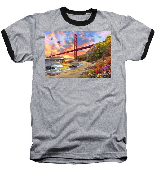 Sunset At Golden Gate Baseball T-Shirt