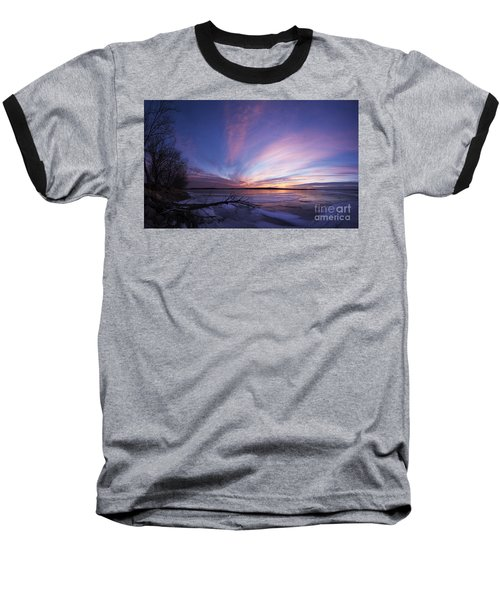 Sunset At Lovewell Lake Kansas Baseball T-Shirt