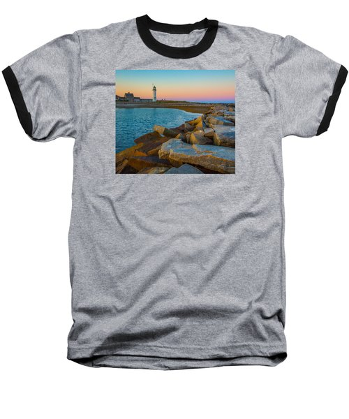 Sunset At Old Scituate Lighthouse Baseball T-Shirt by Brian MacLean