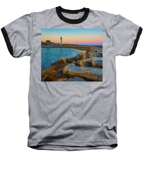 Sunset At Old Scituate Lighthouse Baseball T-Shirt