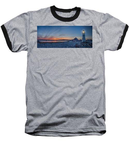 Sunset At Scituate Light Baseball T-Shirt