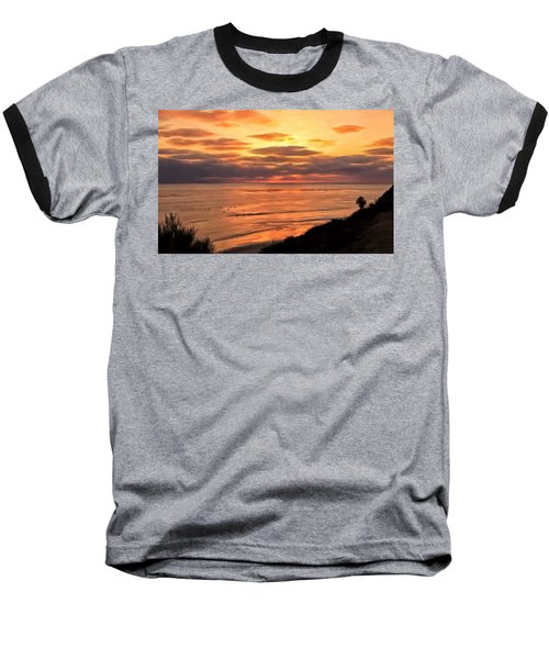 Baseball T-Shirt featuring the painting Sunset At Swami's Encinitas by Michael Pickett