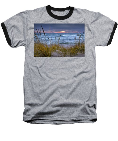 Sunset On The Beach At Lake Michigan With Dune Grass Baseball T-Shirt