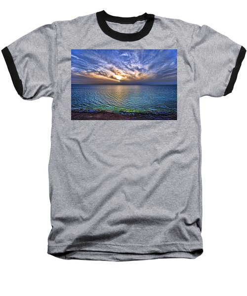 Sunset At The Cliff Beach Baseball T-Shirt