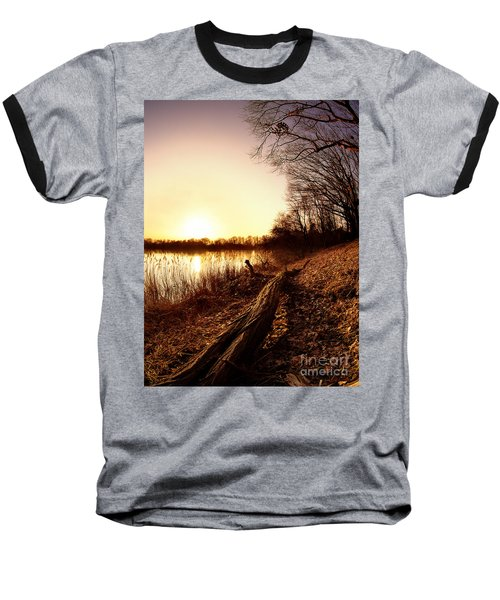 Sunset At The Lake Baseball T-Shirt