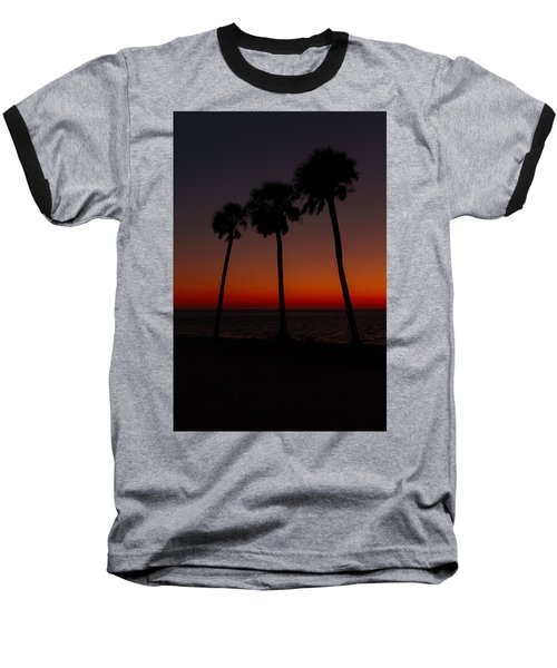 Sunset Beach Silhouette Baseball T-Shirt