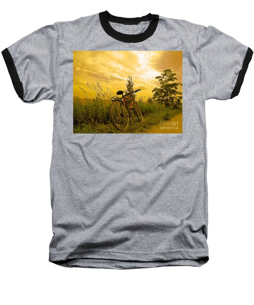 Sunset Biking Baseball T-Shirt