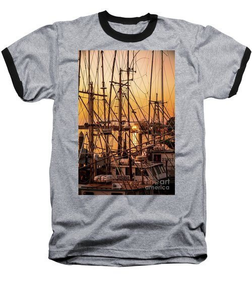 Sunset Boat Masts At Dock Morro Bay Marina Fine Art Photography Print Sale Baseball T-Shirt