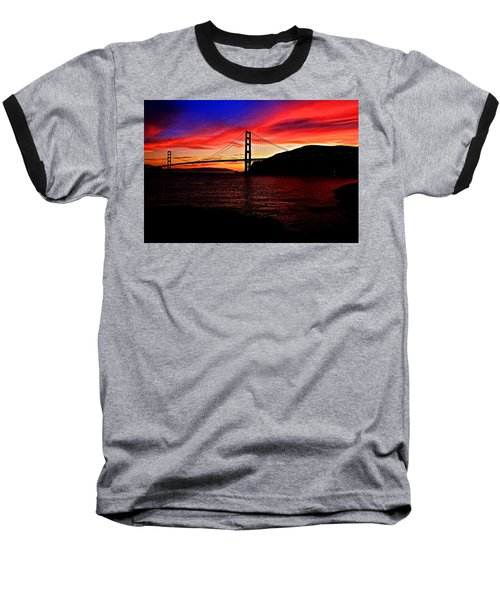 Sunset By The Bay Baseball T-Shirt by Dave Files