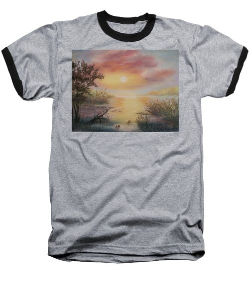 Sunset By The Lake Baseball T-Shirt