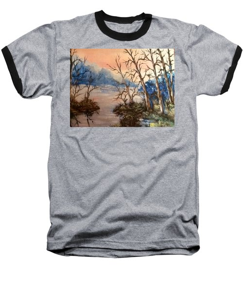 Baseball T-Shirt featuring the painting Sunset Calm by Megan Walsh